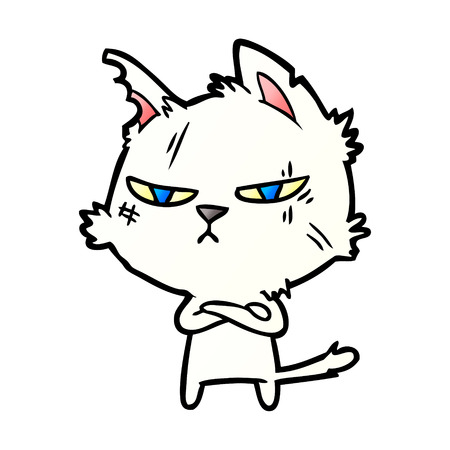 tough cartoon cat 일러스트