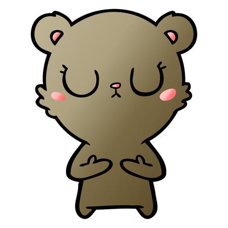 peaceful cartoon bear cub
