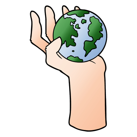 cartoon hand holding whole earth