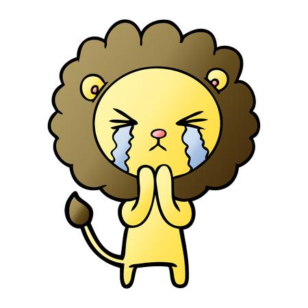Cartoon weinen Löwe beten Standard-Bild - 95739774