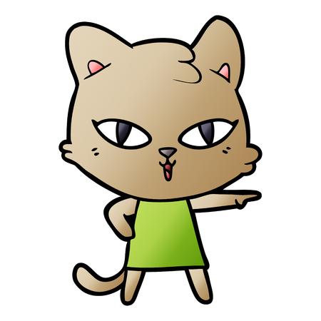 cartoon cat in dress pointing