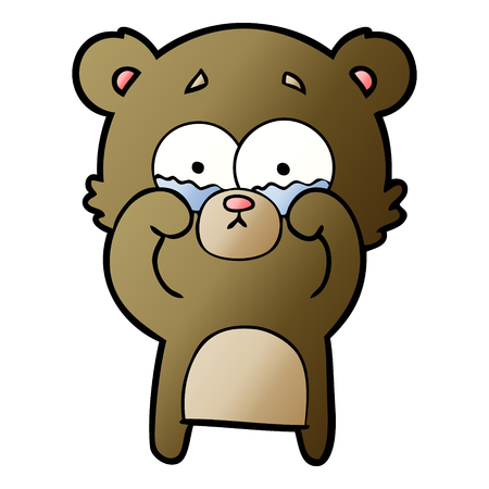 cartoon crying bear rubbing eyes