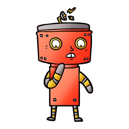 Unsicherer Karikaturroboter Standard-Bild - 95740003