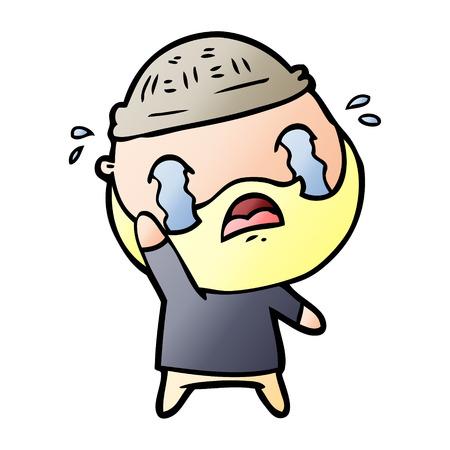 Cartoon bearded man crying, waving goodbye illustration on white background. Illustration