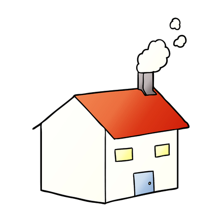 Cartoon house with chimney illustration on white background.