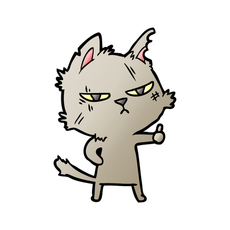 Tough cartoon cat giving thumbs up symbol illustration on white background.