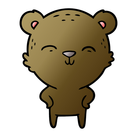 Happy cartoon bear with hands on hips illustration on white background.