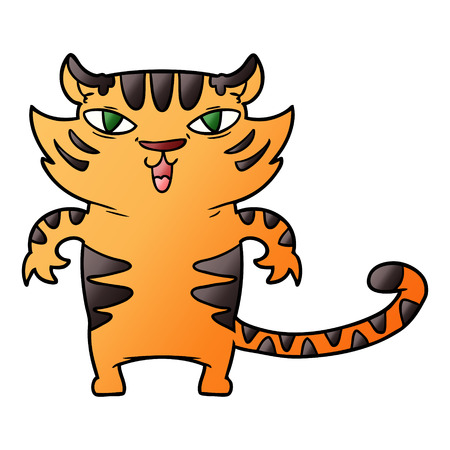 Happy cartoon tiger illustration on white background.