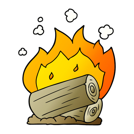 Cartoon campfire illustration on white background.
