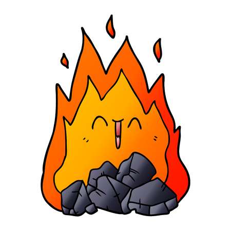 Cartoon blazing coal fire illustration on white background.