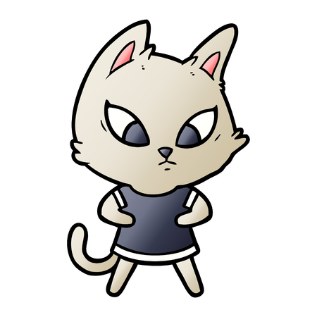 Confused cartoon cat in clothes illustration on white background. Illustration