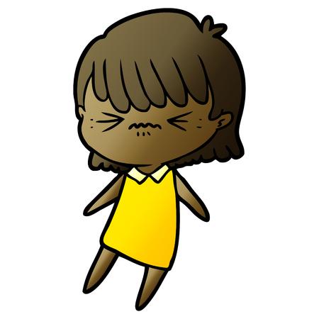 Annoyed cartoon girl illustration on white background. Illustration
