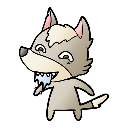 Cartoon hungry wolf illustration on white background. Imagens - 95527626
