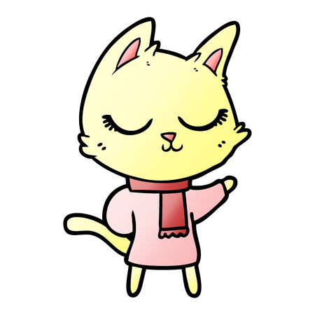 calm cartoon cat wearing scarf