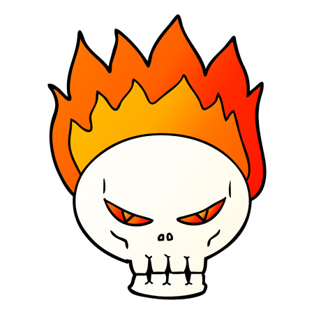 Cartoon flaming skull illustration on white background. Çizim