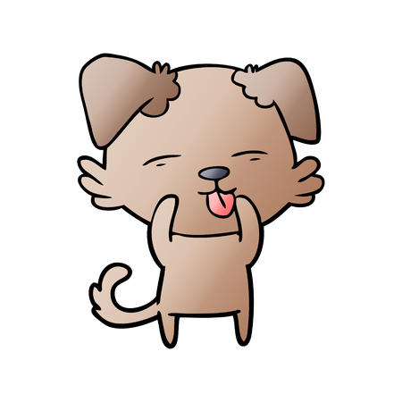 Cartoon dog sticking out tongue illustration on white background. Illustration