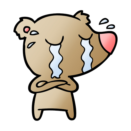 Cartoon crying bear illustration on white background.