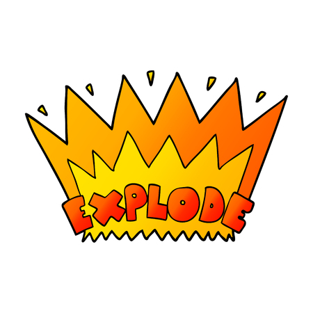 Cartoon explosion illustration on white background.