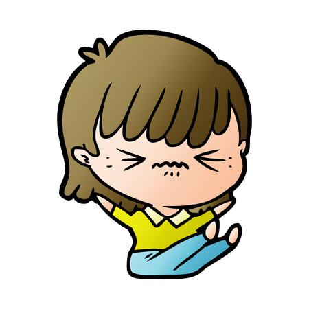 annoyed cartoon girl falling over Ilustração