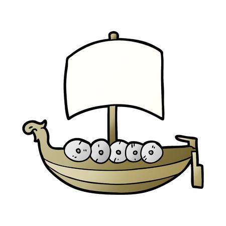 Cartoon viking boat illustration on white background. Illustration