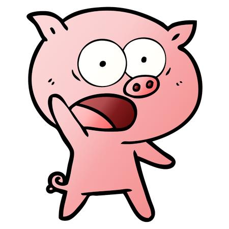 A cartoon pig shouting