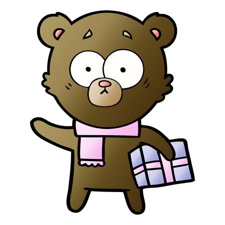 神経質なクリスマスクマの漫画  イラスト・ベクター素材