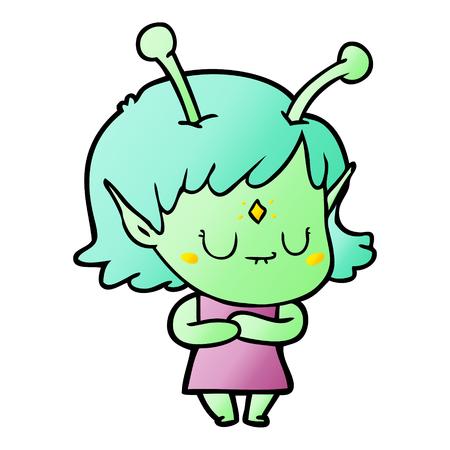 A relaxed cartoon alien girl