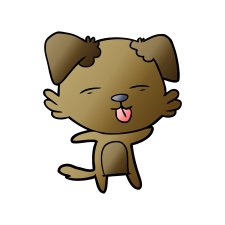 Cartoon dog sticking out tongue illustration on white background. Illusztráció