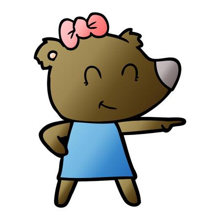 Female bear cartoon illustration on white background. Archivio Fotografico - 95527358
