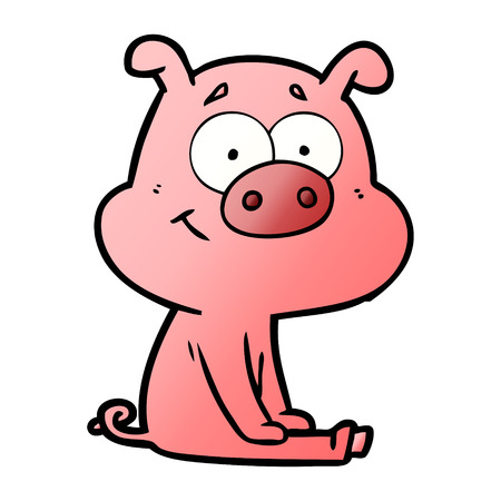 Happy cartoon pig sitting illustration on white background.