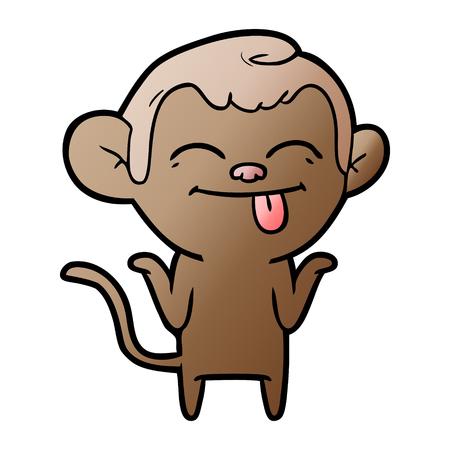 Funny cartoon monkey illustration on white background.