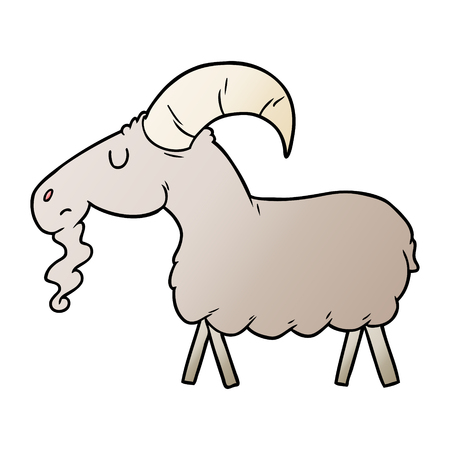 Cartoon goat illustration on white background.