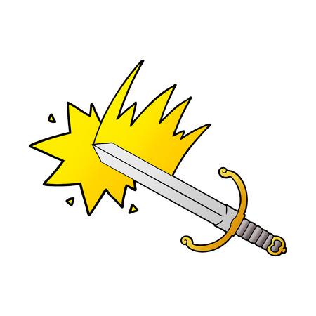 Swinging cartoon sword illustration on white background. Ilustrace