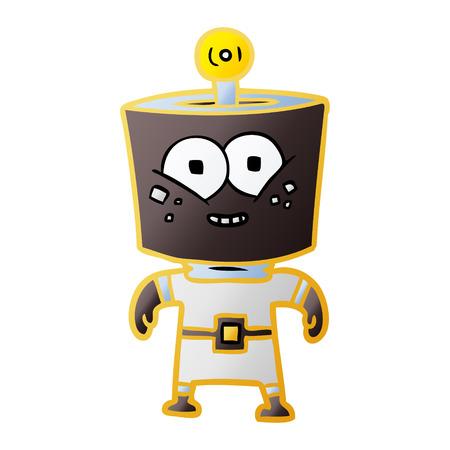 A happy energized cartoon robot Stock Vector - 95609045