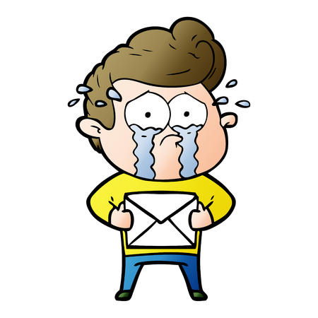 Cartoon crying man receiving letter