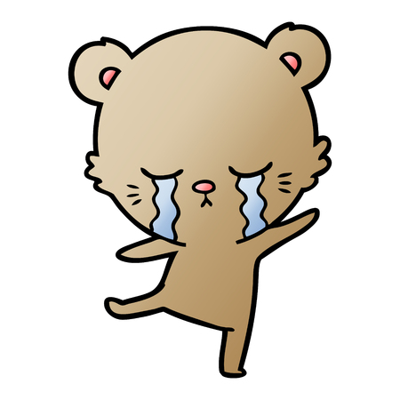 Crying cartoon bear balancing illustration on white background. Ilustrace
