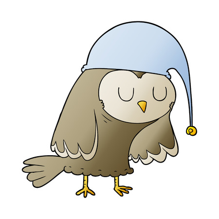 Cartoon owl sleeping illustration on white background.
