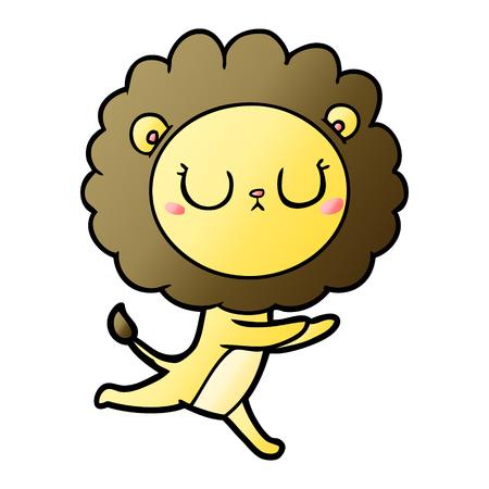Cartoon running lion illustration on white background.