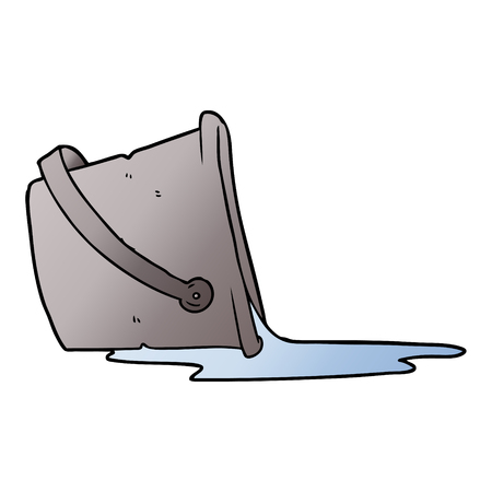A cartoon spilled bucket of water  イラスト・ベクター素材