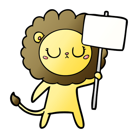 Cartoon lion with protest sign Stock Vector - 95531693