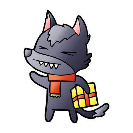 Angry Christmas wolf cartoon illustration on white background.