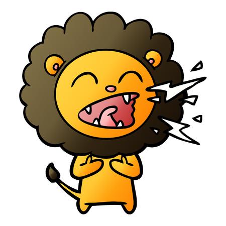 Cartoon roaring lion illustration on white background. Banque d'images - 95527267