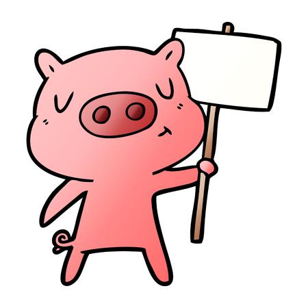 Cartoon content pig signpost;sign illustration on white background. Ilustração