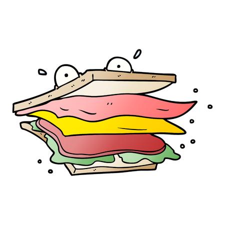 A sandwich cartoon character