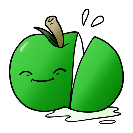 A cartoon sliced apple Illustration