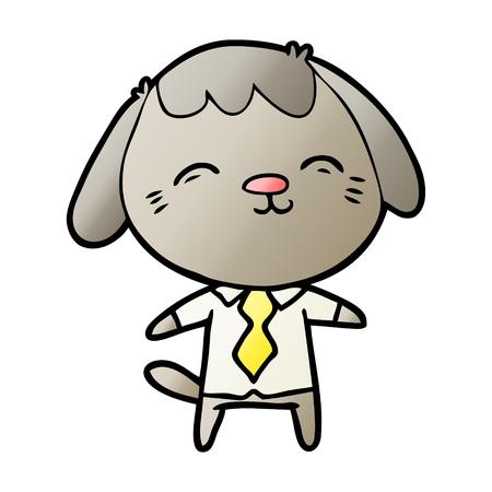happy cartoon office worker dog Stock Vector - 95581981