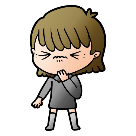 cartoon girl regretting a mistake