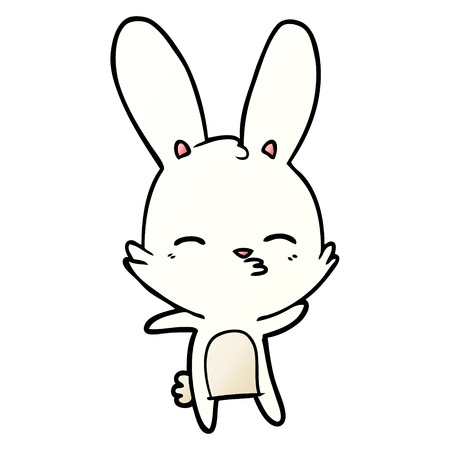 Curious bunny cartoon illustration on white background. 向量圖像