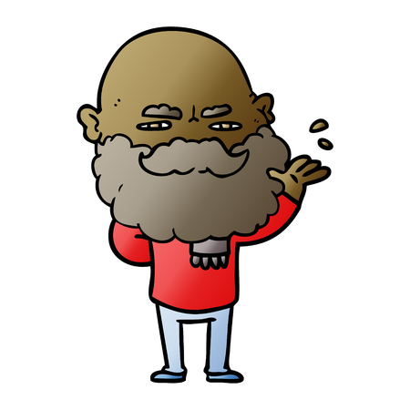 Cartoon dismissive man with beard frowning illustration on white background. Illustration
