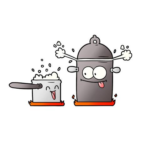 bubbling pans cartoon Vector illustration. Illustration